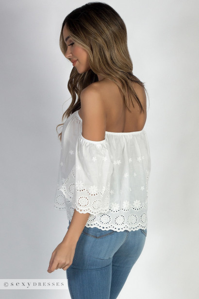 """Sun and Sand"" White Off Shoulder Crochet Crop Top"