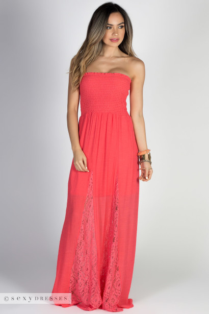 """Carried Away"" Coral Strapless Shirred Maxi Summer Dress"