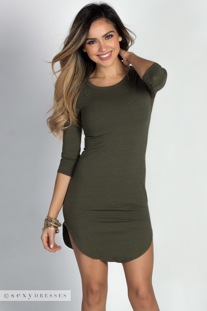 """Alaya"" Olive 3/4 Sleeve T-Shirt Tunic Dress"