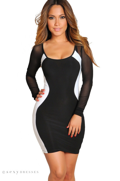"""Danita"" Sexy White and Black Mesh Sleeve Optical Illusion Dress"