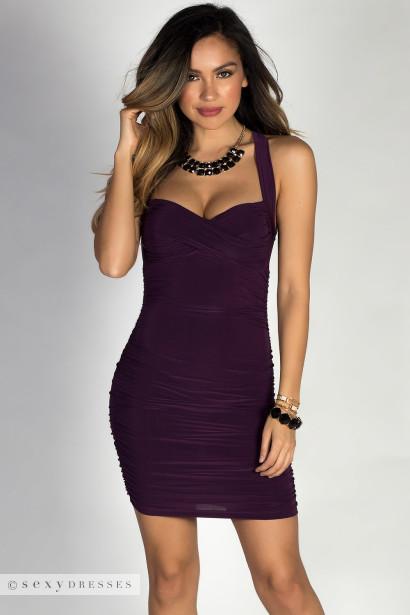 """Paloma"" Purple Cross Back Bodycon Cocktail Dress"