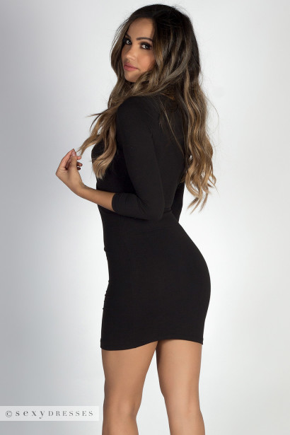 """Lover's Heart"" Black 3/4 Sleeve V Neck Mini Dress"