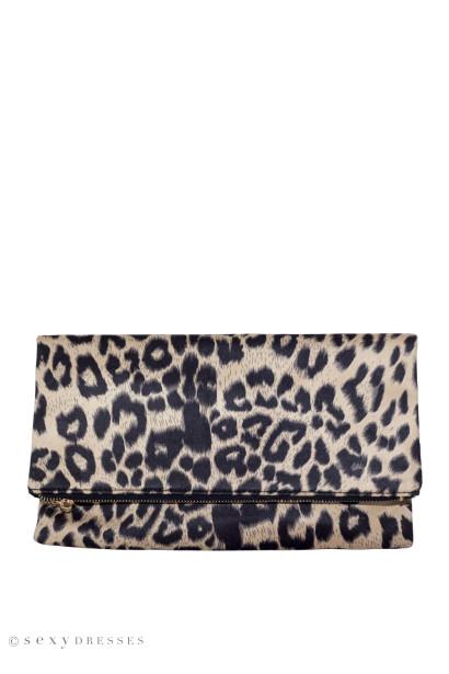 Taupe Leopard Clutch