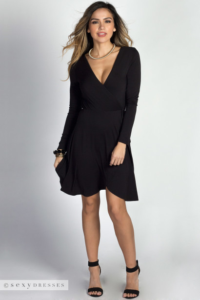 """Beth"" Black Long Sleeve A-Line Jersey Wrap Dress"