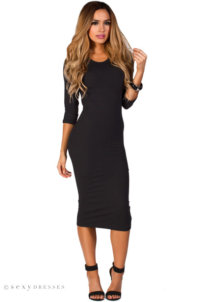 """Margo""  Black 3/4 Sleeve Jersey Bodycon Midi Dress"