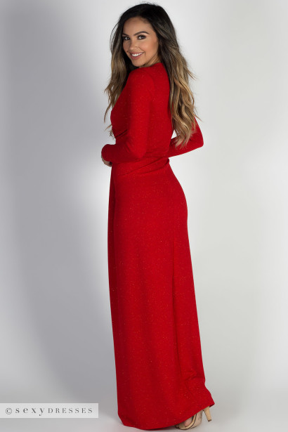 """Holiday Romance"" Red Glitter Deep V Long Sleeve Maxi Gown"