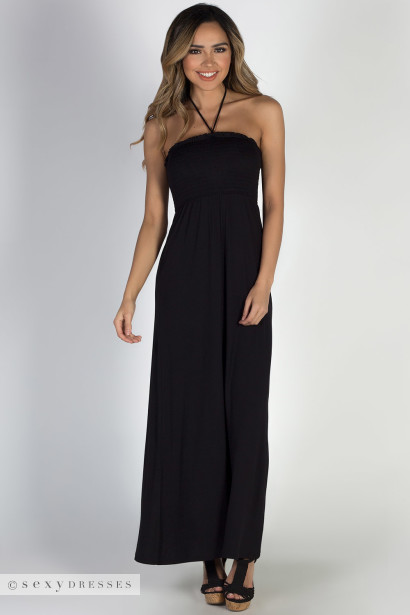"""Summer Rain"" Black Halter Neck Maxi Dress"