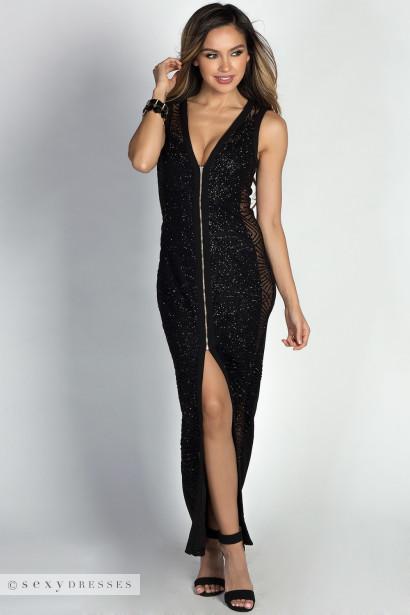 """Jaqueline"" Black Glitter Zip Front Sleeveless Maxi Gown"