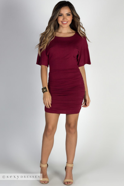 """Hannah"" Burgundy Dolman Sleeve Ruched Jersey Dress"