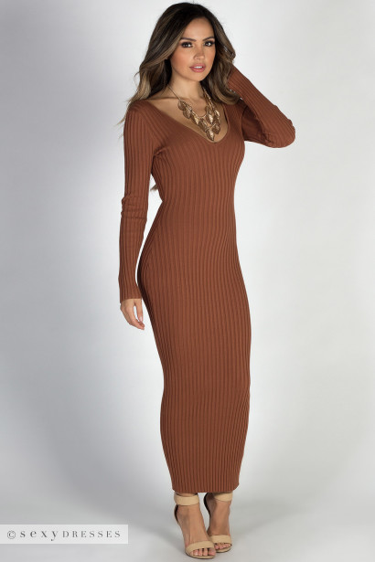 "ecf5a282afa01 Iets Nieuws Autumn Leaves Top Autumn Leaves "" Rust Brown V Neck Bodycon  Long Sweater Dress ..."