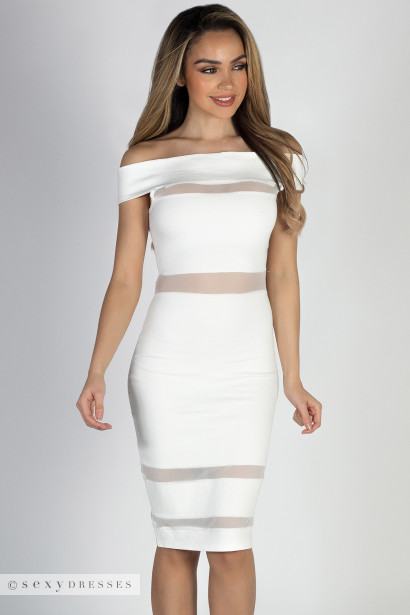 """Paper Moon"" Ivory Off Shoulder Mesh Cut Out Dress"