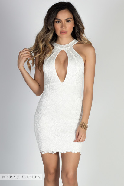 """Baby Doll"" Ivory Plunging Cut Out High Neck Halter Lace Mini Dress"