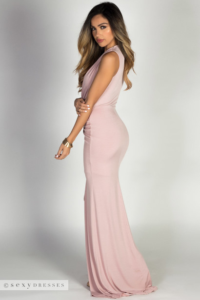 """Jessica"" Blush Sleeveless Plunging Deep V Glam Maxi Dress"