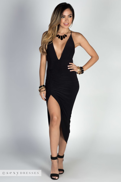 """Lorenza"" Black Strappy Backless Midi Dress with Thigh High Slit"