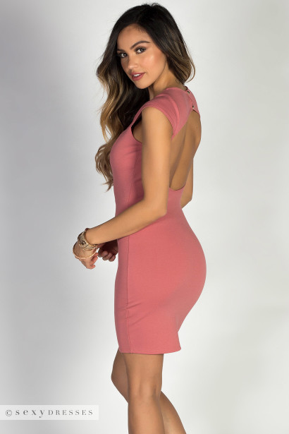Say You Will Dusty Rose Cap Sleeve Sweetheart Keyhole Cut Out
