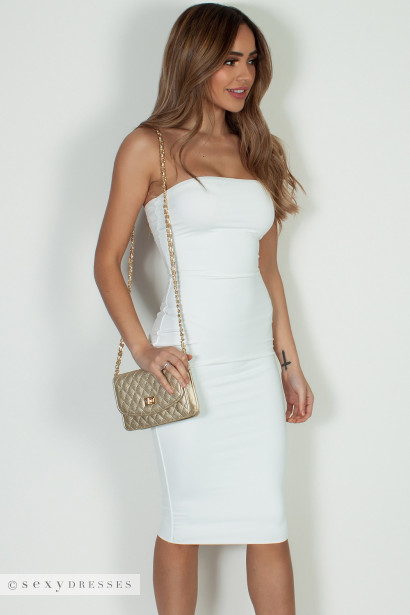 """Into You"" Off White Basic Tube Mini Dress"