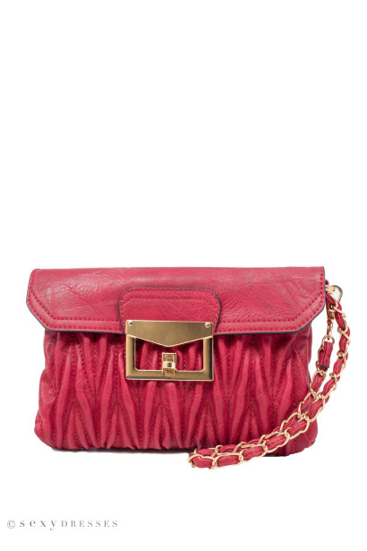 """Roses are Red"" Burgundy Puckered Leather Vegan Handbag"