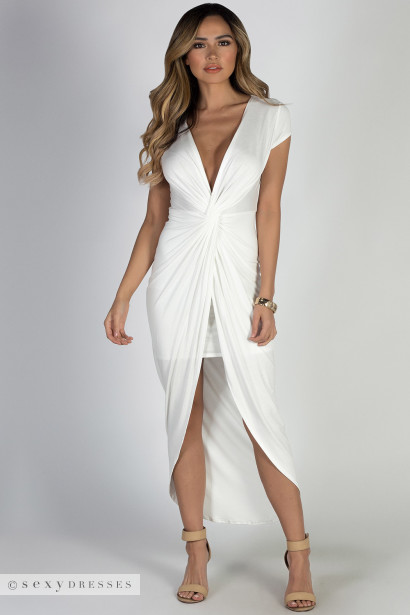 """Paris Bound"" White Jersey Maxi Dress"