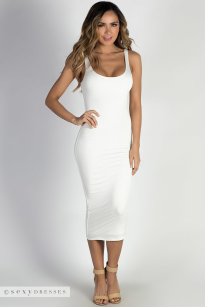 """Feelin' Myself"" Ivory Jersey Bodycon Tank Midi Dress"