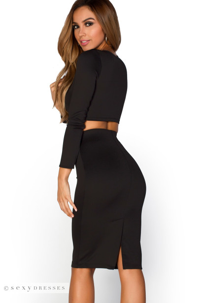 """Peyton"" Black Knot-Front Long Sleeve Two Piece Dress Set"