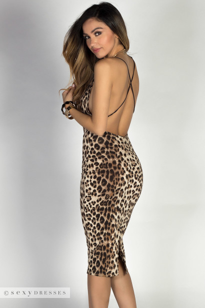 """Amara"" Leopard Print Bodycon Strappy Midi Slip Dress"