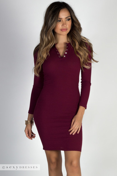 """Seattle's Finest"" Burgundy Ribbed Bodycon Henley Dress"
