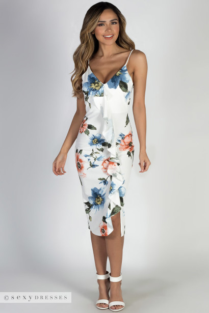 """Golden Glow"" White Floral Spring Dress"