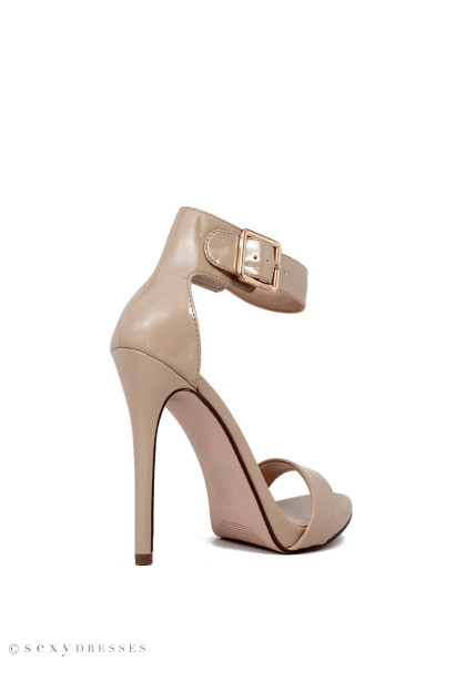 """Dangerous"" 5"" Womens Beige Patent Open Toe Sandal High Heel Shoes"