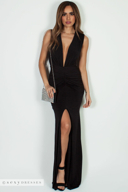 """""""Deep End"""" Black Ruched Maxi Gown w/ High Front Slit"""