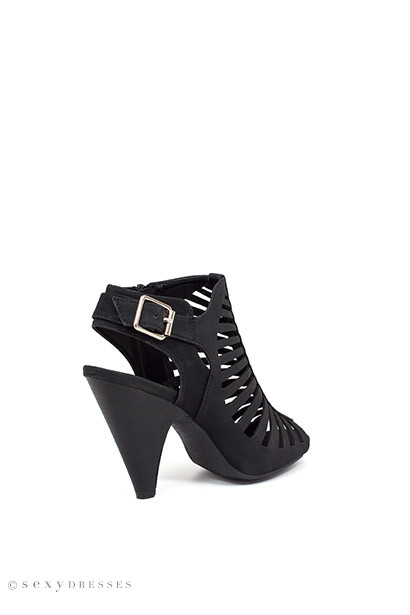 """Notorious"" 4"" Stacked Heel Black Cut Out Open Toe Booties"