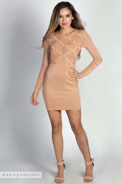 """Rita Nude Long Sleeve Studded Mesh Sheer Top Mini Dress"