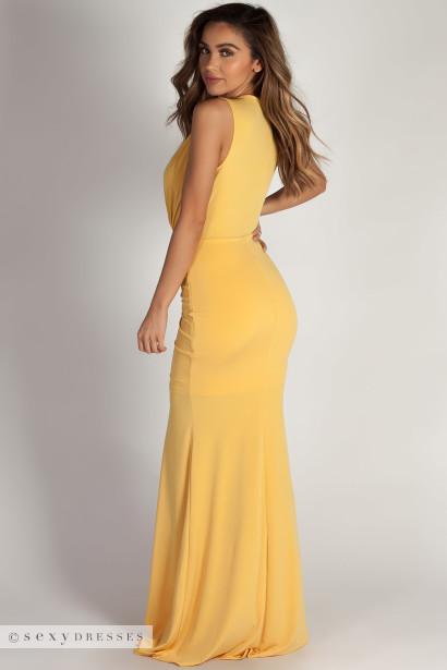 """Deep End"" Mustard Plunging V-Neck Ruched Maxi Dress"