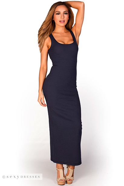 """Anabelle"" Navy Blue Cute and Casual Sleeveless Tank Maxi Dress"