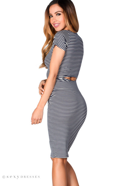 """Sylvie"" Navy & White Stripes Short Sleeve Cut Out Midi Dress"