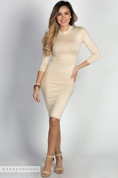 """Alva"" Nude 3/4 Sleeve Jersey Bodycon Mock Turtleneck Midi Dress"
