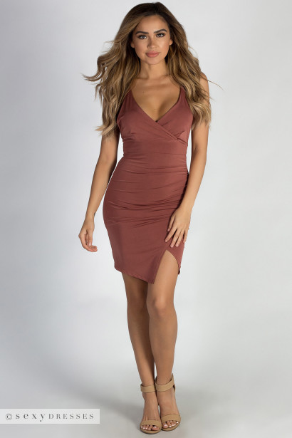 """""""Used To You"""" Rosewood Asymmetrical Ruched Dress"""