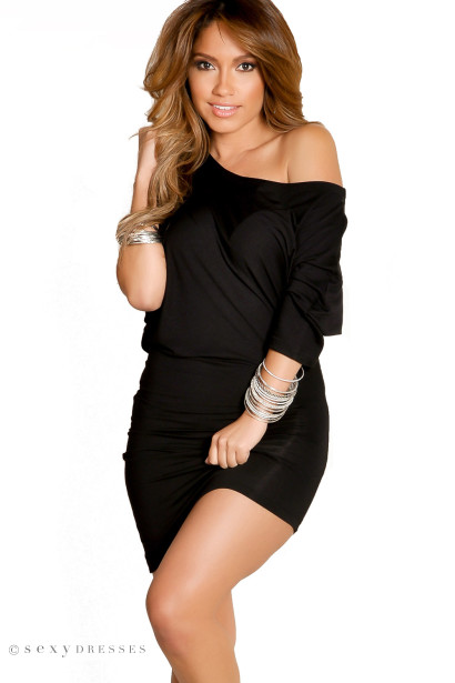 Courtney Black Sexy Off The Shoulder T Shirt Dress