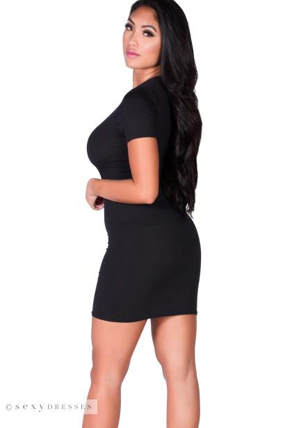 """Zanna"" Black Keyhole Cut Out Short Sleeve T Shirt Dress"