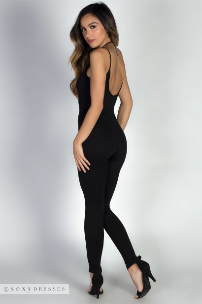 """Work it Out"" Black Spaghetti Strap Jersey Catsuit Jumpsuit"