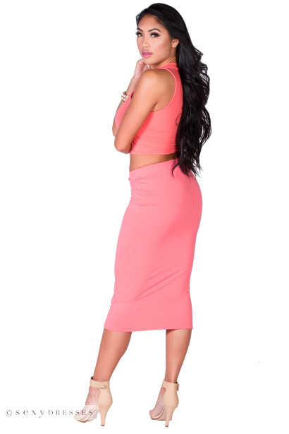 """Gwyneth"" Coral Jersey High Waisted Midi Pencil Skirt"