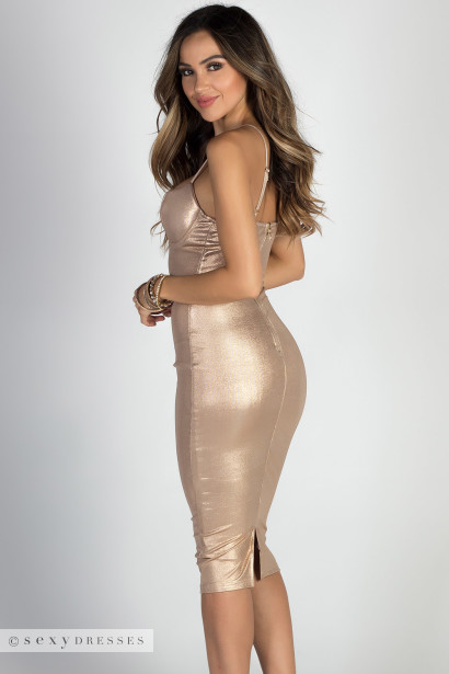 """Halo"" Rose Gold Strappy Metallic Midi Dress"