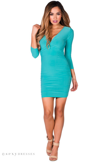 """Sheryl"" Mint Green V Neck Ruched Bodycon Faux Wrap Dress with Sleeves"