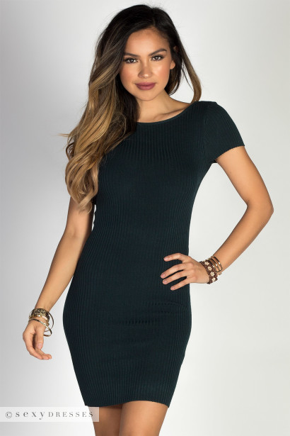 """""""Girl Like You"""" Teal Green Ribbed Knit Short Sleeve Open Back Bodycon Dress"""