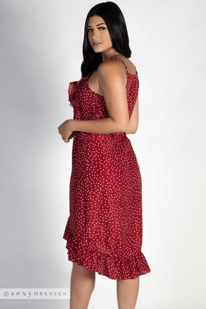 """Enough Said"" Red Polka Dot Wrap Ruffled Dress"