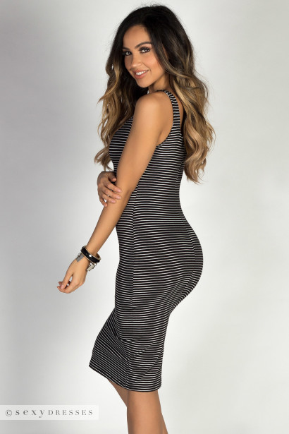 """Boardwalk Babe"" Black & White Striped Scoop Neck Bodycon Tank Midi Dress"