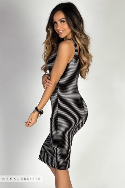 """Boardwalk Babe"" Boardwalk BabeBlack & White Striped Scoop Neck Bodycon Tank Midi Dress"