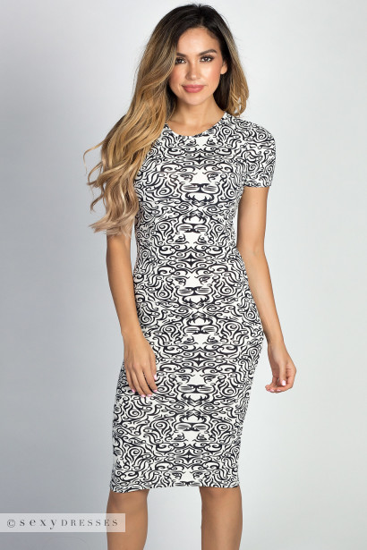 """Jamie"" White Lion Print Print Short Sleeve Bodycon T Shirt Midi Dress"