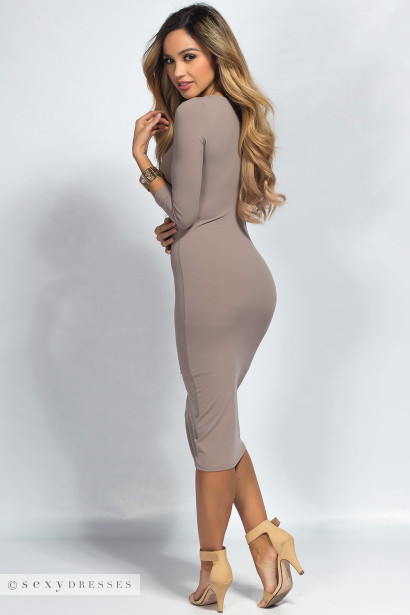 """Charlene"" Taupe 3/4 Sleeve Scoop Neck Bodycon Midi Dress"