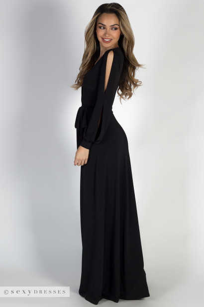 Diva Rules Black Long Sleeve Deep V A Line Maxi Dress