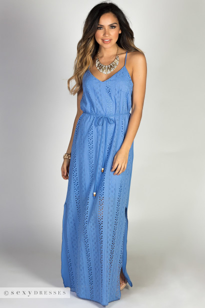 """Hippie Chick"" Blue Strappy Belted Cotton Eyelet Maxi Dress"